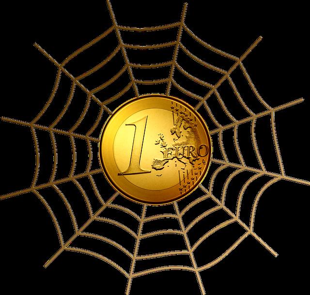 euro mince v pavoučí síti